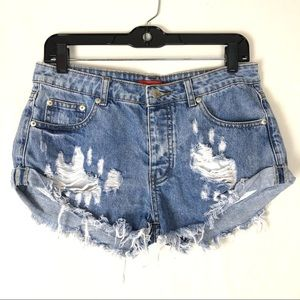 Signature8 high waist distressed jean denim shorts